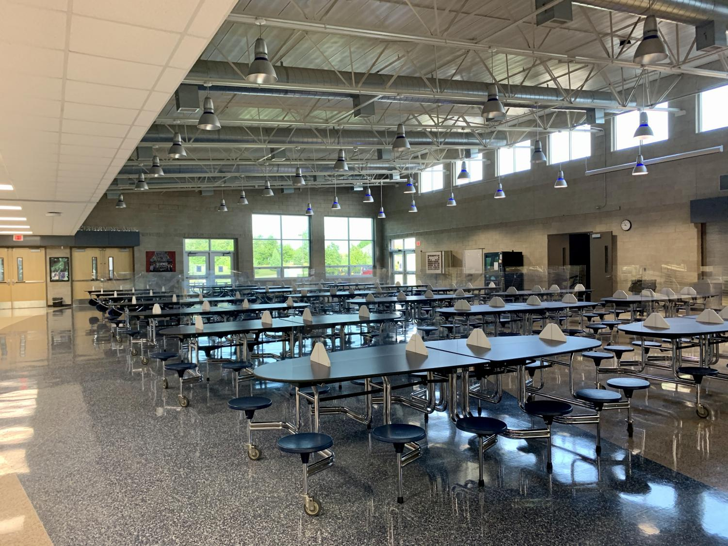 The lunchroom with barriers pictured above.