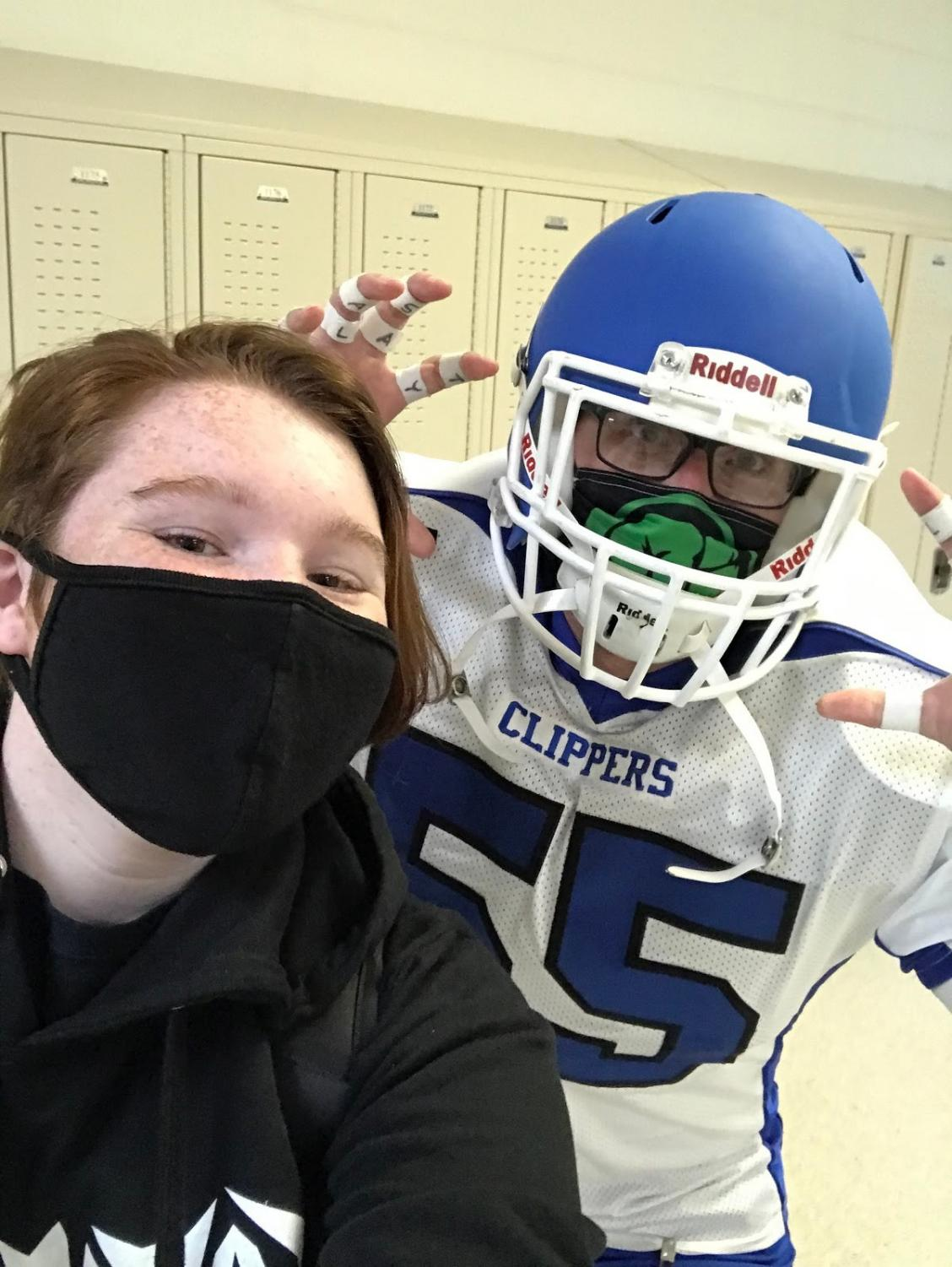 Reporter Red Cruz pictured with Mr. Karsjens dressed up for Clipper Spirit Day.