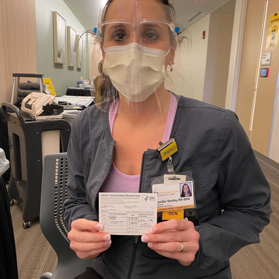 Jennifer Skelley pictured with her vaccine card.