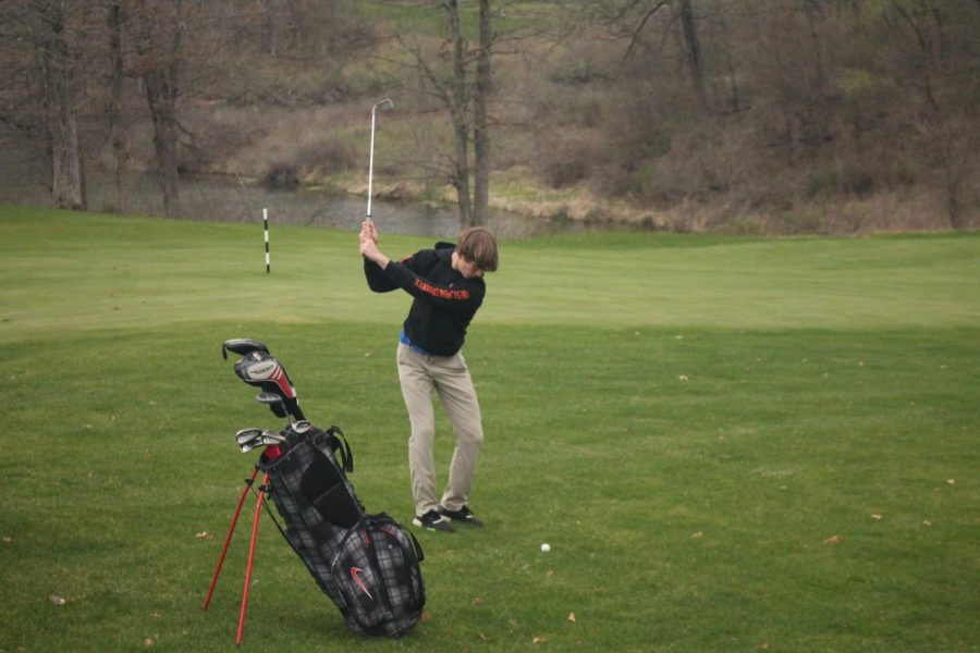 Nathan Speers pictured mid-swing.